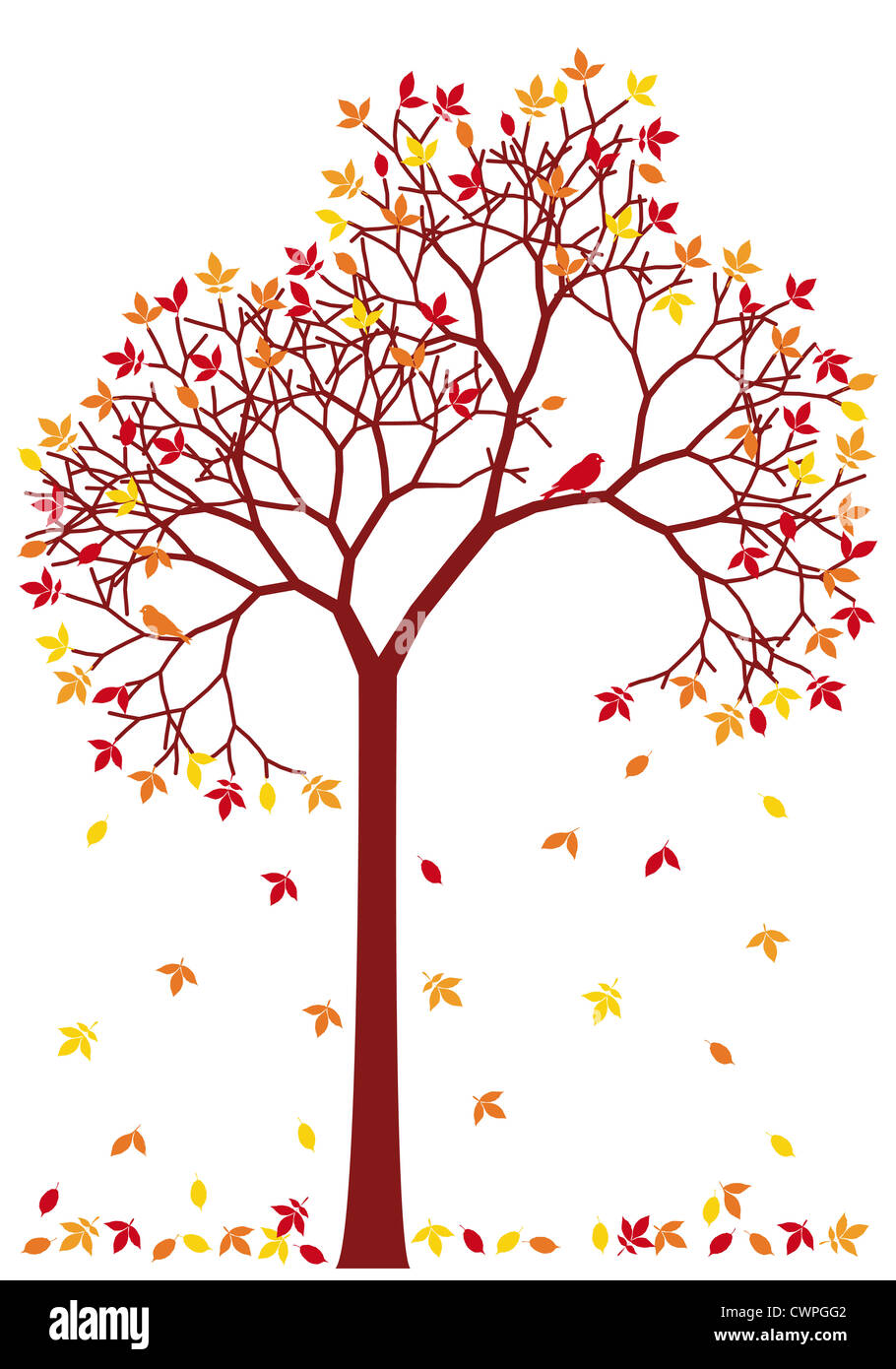 autumn tree with colorful falling leaves, background illustration - Stock Image