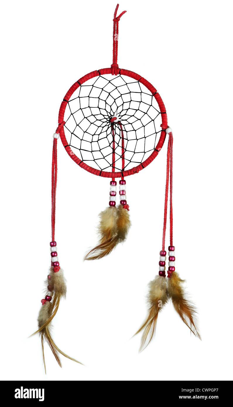 Simple, red, native american dreamcatcher isolated on white - Stock Image