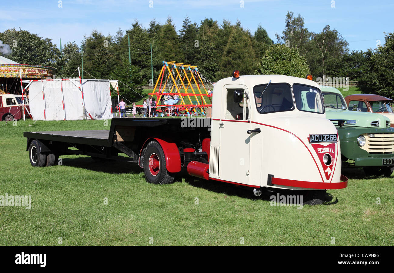 1964 Scammell Scarab 3 wheeled articulated truck Beamish Museum, north east England, UK - Stock Image
