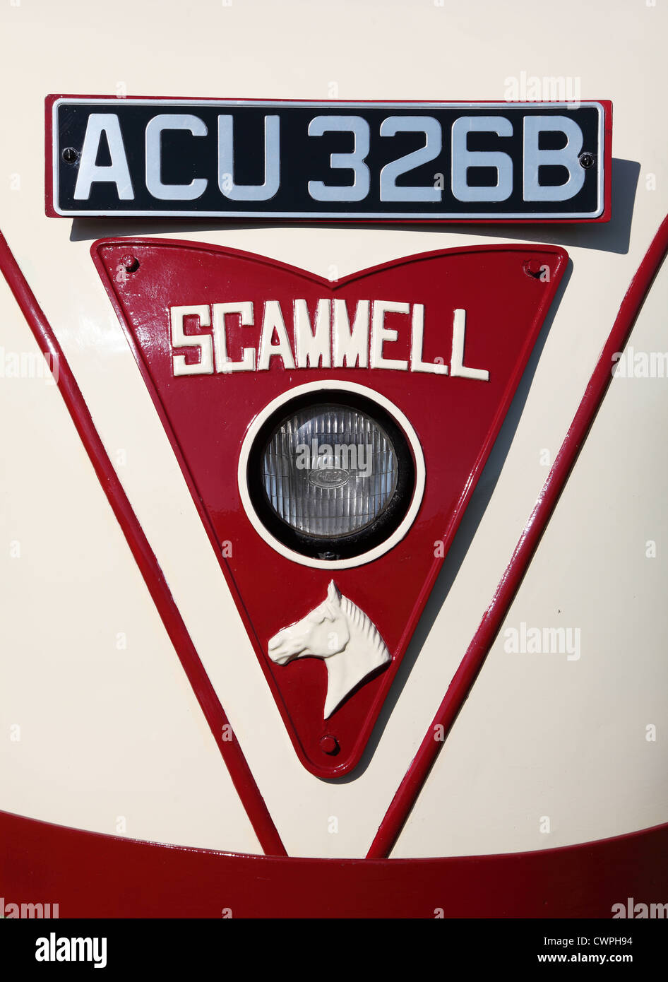 Detailed view of Scammell Scarab 3 wheeled truck Beamish Museum, north east England, UK - Stock Image