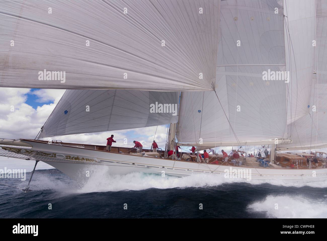Classic yacht 'Adela' Sailing in the English Channel off Falmouth Stock Photo