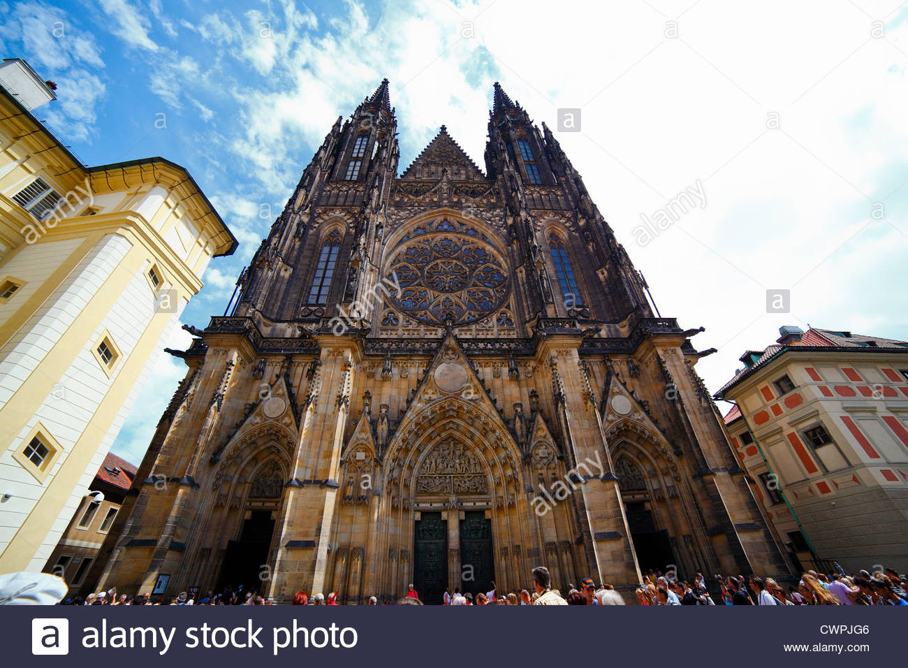 Front of Saint Vitus cathedral, in Prague. Facade. castle. Czech republic. - Stock Image