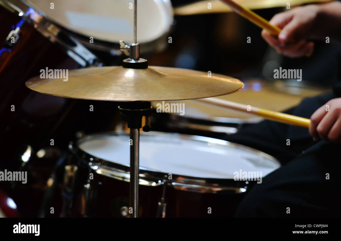 drummer rocking out - Stock Image