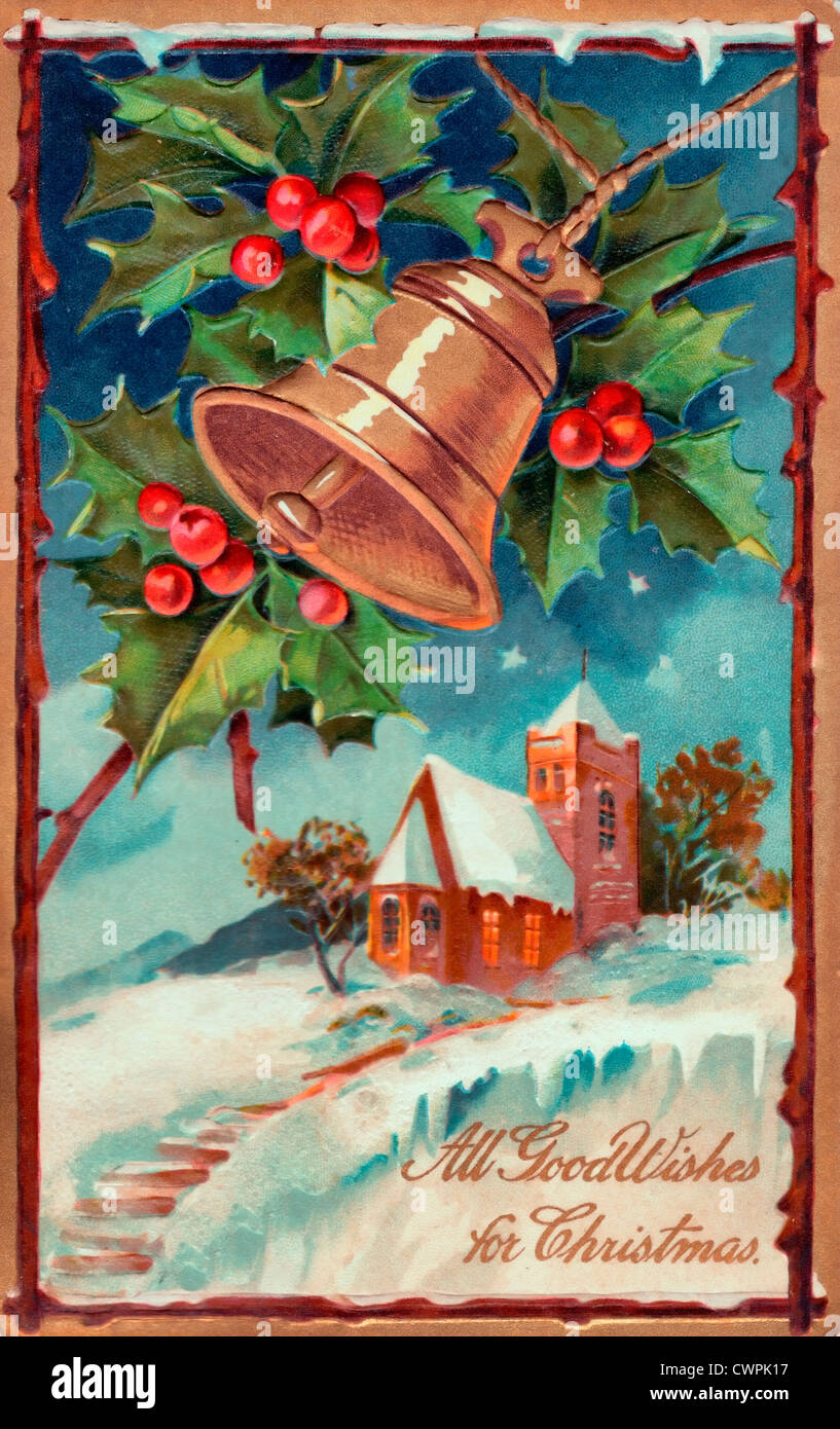 All good wishes for Christmas - Vintage card - Stock Image