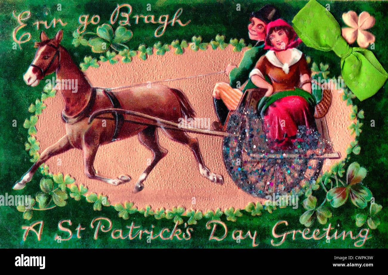 Erin go bragh a st patricks day greeting irish couple with erin go bragh a st patricks day greeting irish couple with horse and buggy m4hsunfo