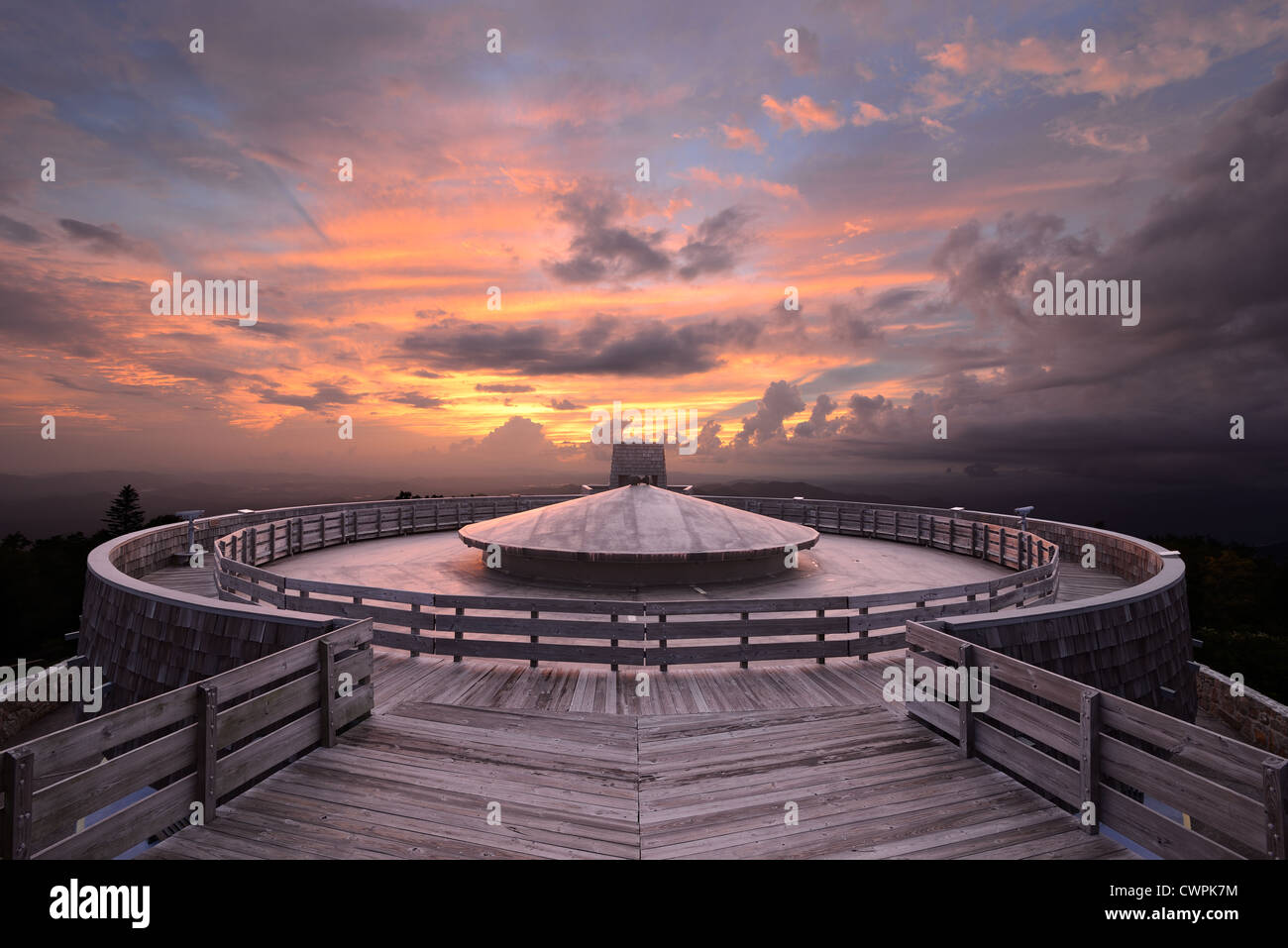 Observatory atop the summit of Brasstown Bald Mountain in Georgia, USA. - Stock Image