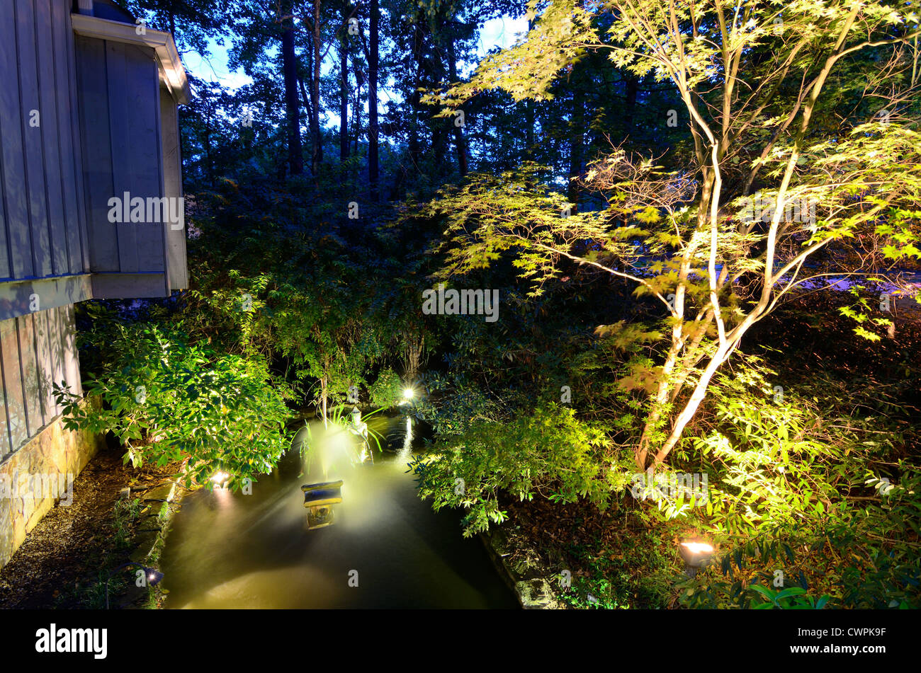 Small pond at a house - Stock Image
