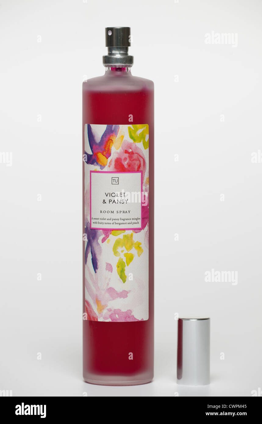 Bottle of Violet and Pansy room spray from TU - Stock Image