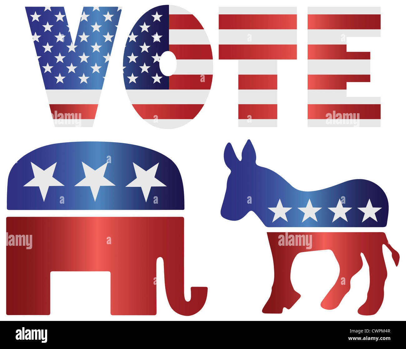 vote republican elephant and democrat donkey with american usa flag
