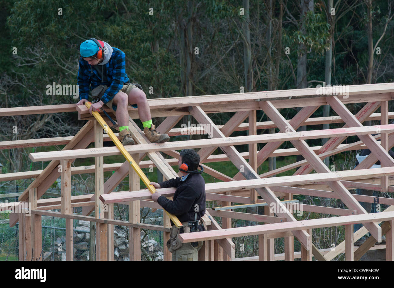 A builder working with an apprentice on the roof joists of a building - Stock Image