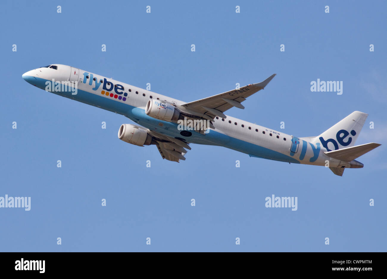Flybe Embraer  ERJ-190-200LR, Gatwick Airport, Sussex, England - Stock Image