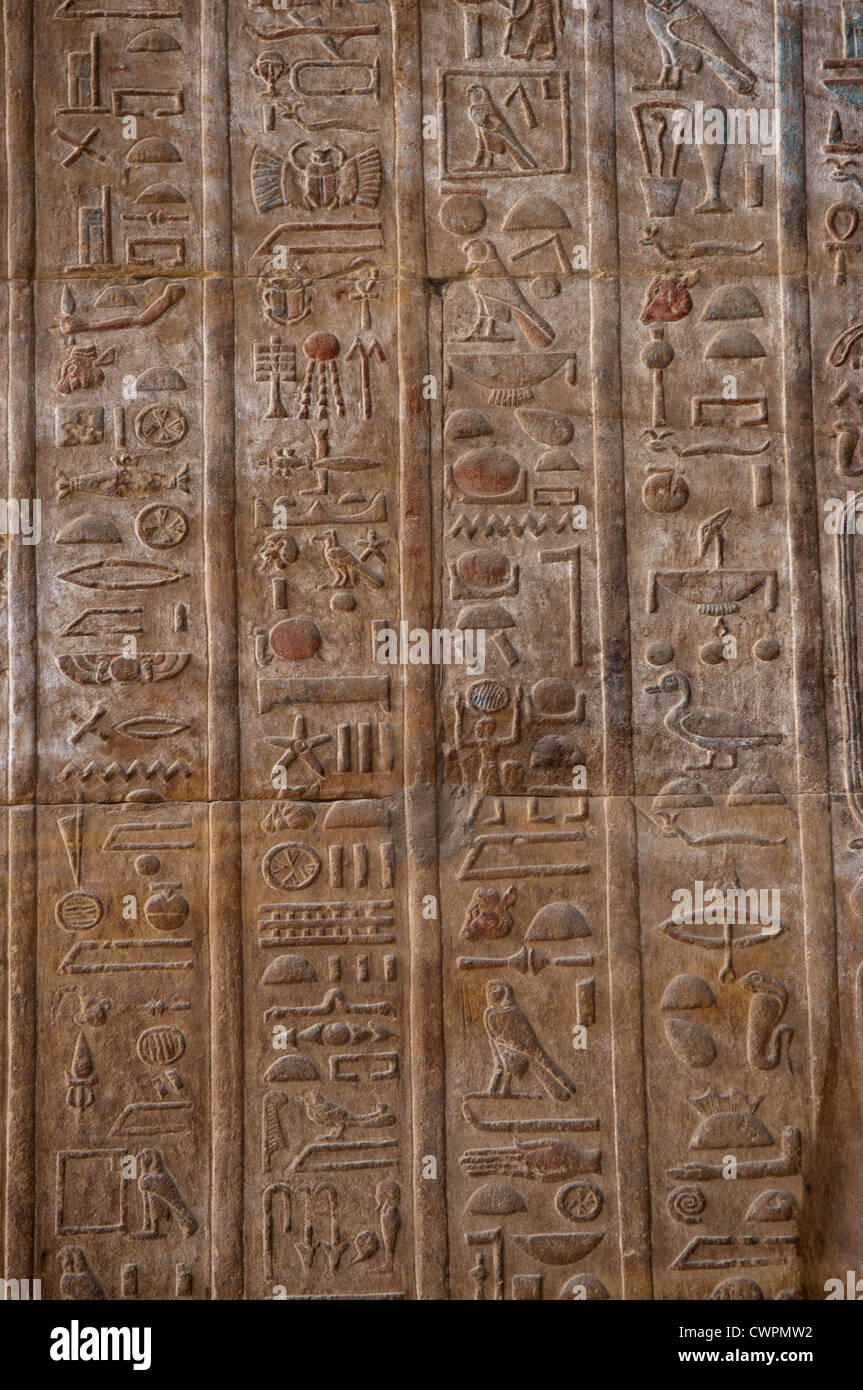 Ancient hieroglyphs Horus temple Edfu Egypt - Stock Image