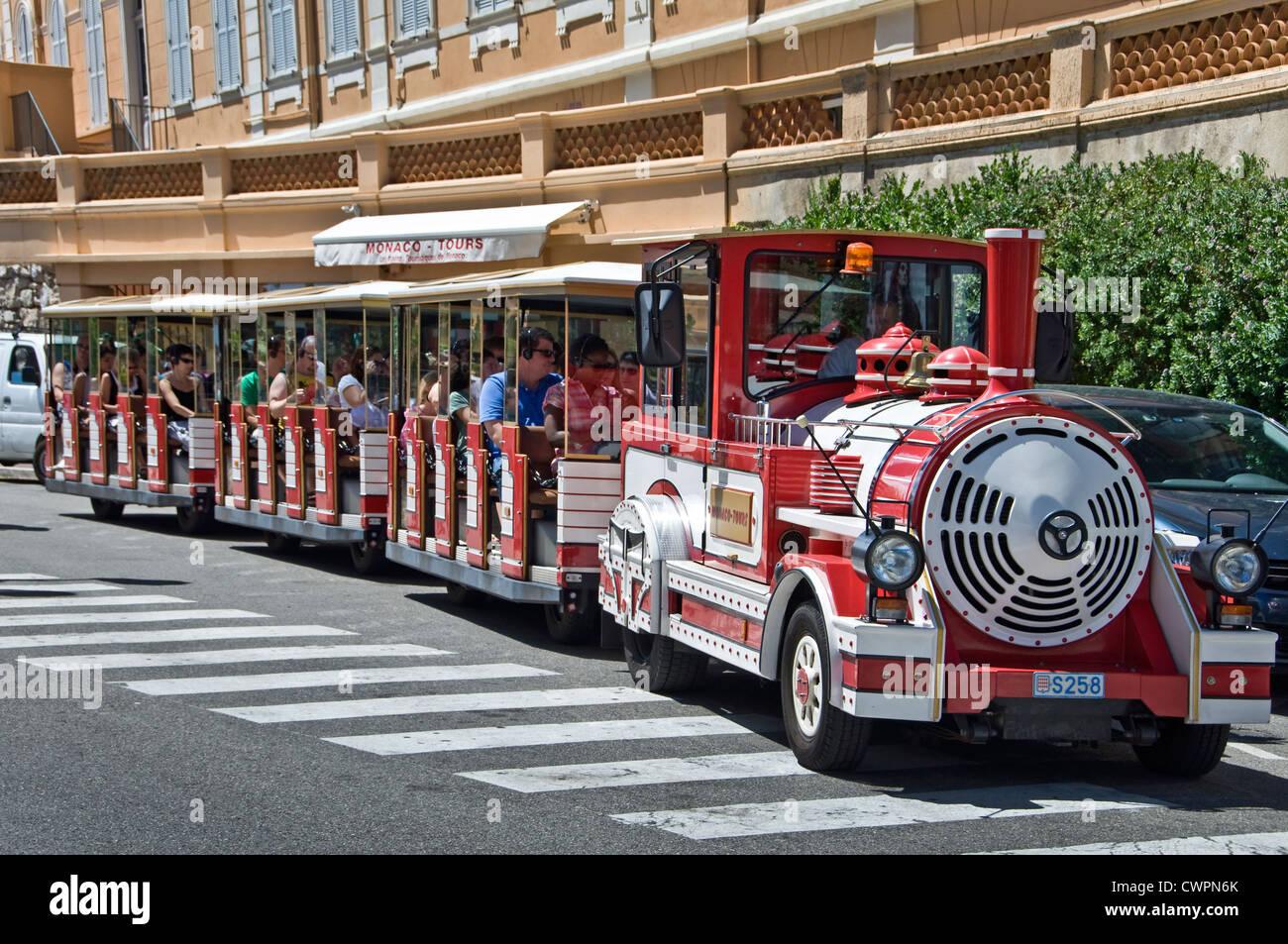 Touristic small train in Monaco - Stock Image
