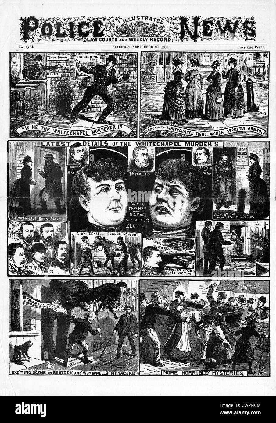 Jack The Ripper, Annie Chapman, The Police News front page reporting the second victim of the Victorian serial killer - Stock Image