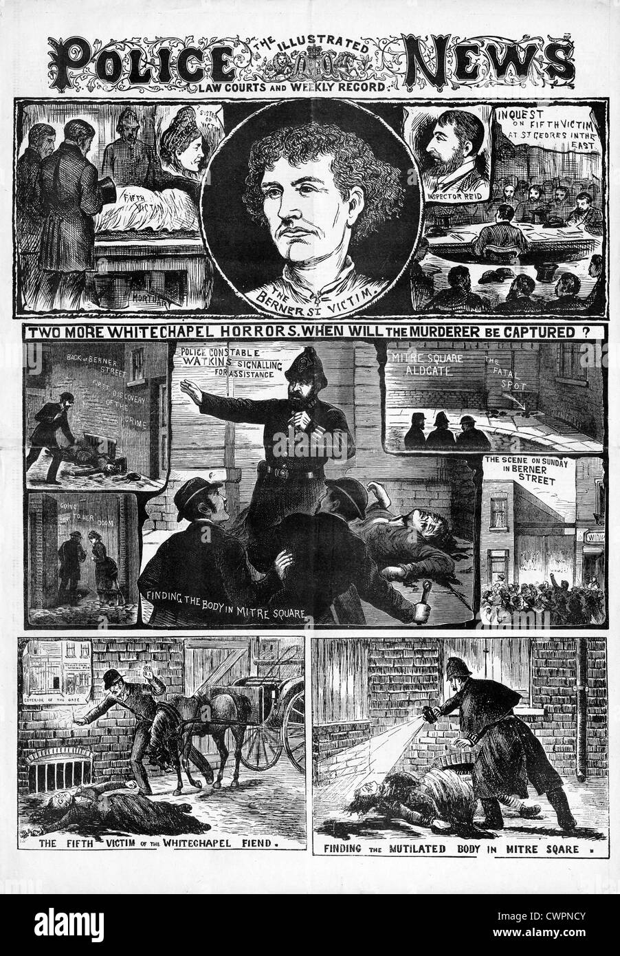 Jack The Ripper, Elizabeth Stride & Catharine Eddowes, The Police News front page reporting the third and fourth - Stock Image