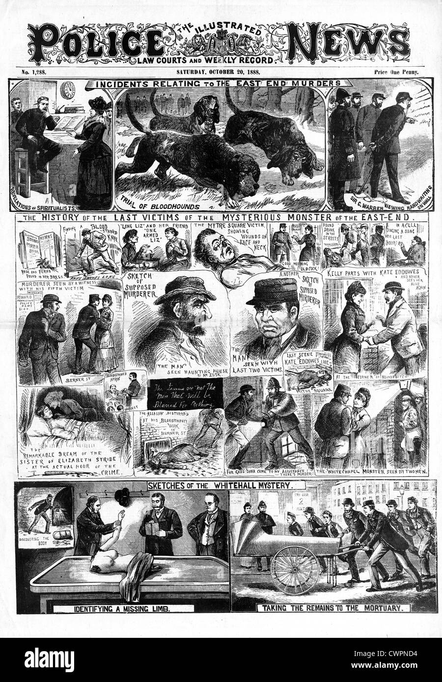 Jack The Ripper, Oct 20 1888, The Police News front page reporting the activities to date of the notorious Victorian - Stock Image