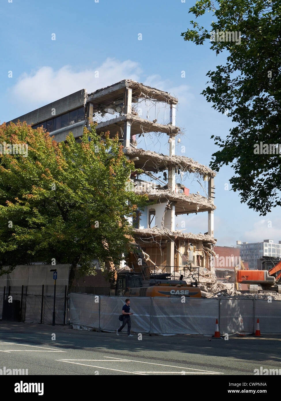 Demolition of BBC New Broadcasting House on Oxford Road in Manchester UK - Stock Image