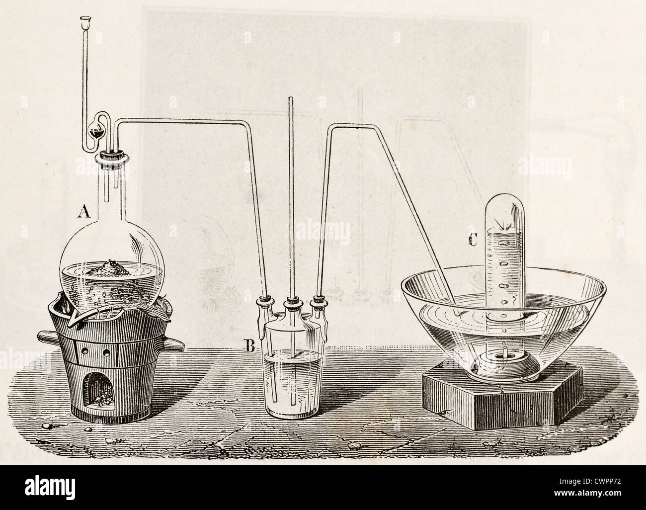 Laboratory apparatus for oxygen production - Stock Image