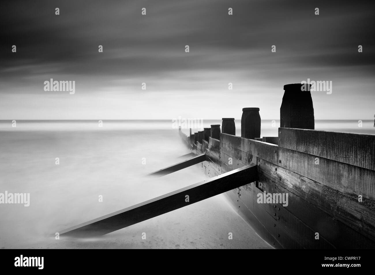Groynes at Southwold, Suffolk - Stock Image