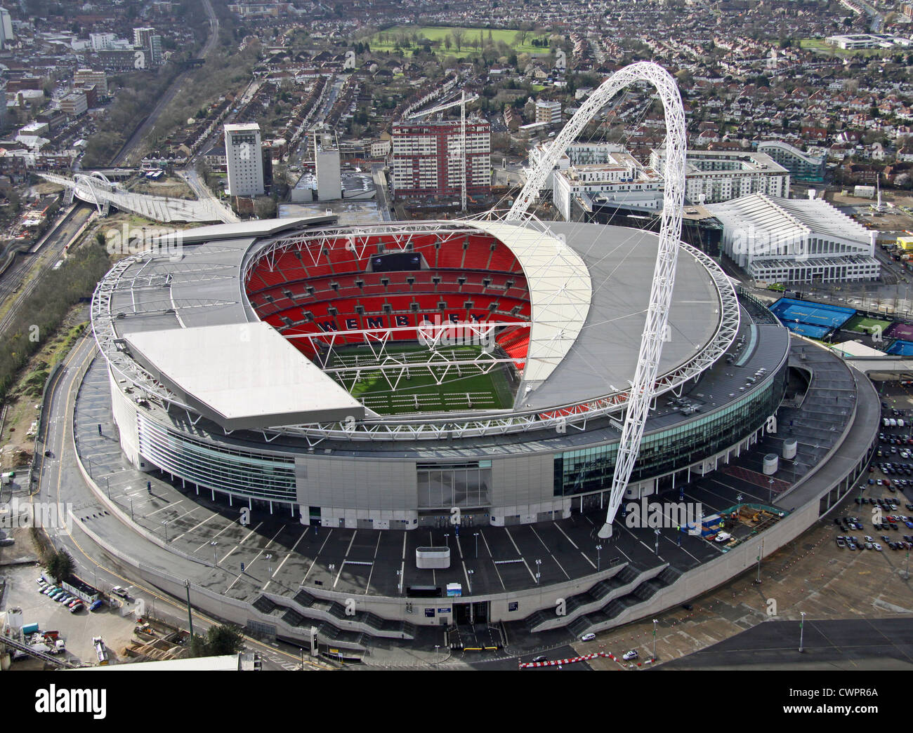 aerial view of Wembley Stadium, London - Stock Image