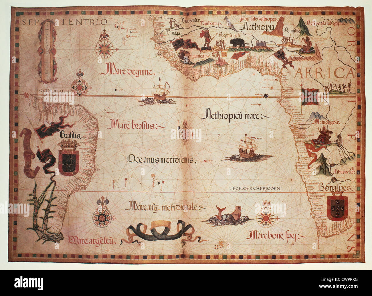 Old Portolan chart of Atlantic Ocean Stock Photo
