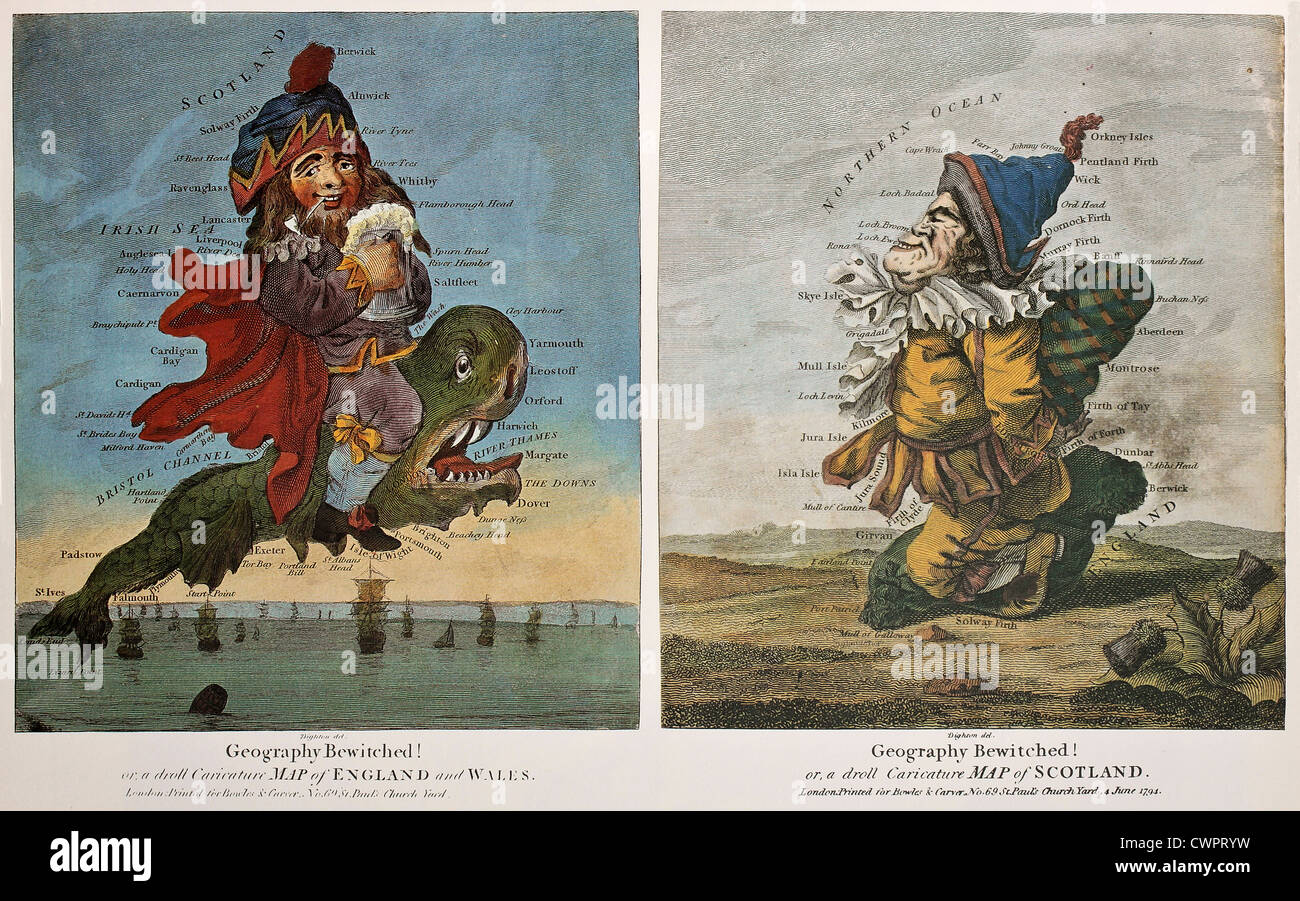 Old caricature maps of England-Wales and Scotland - Stock Image