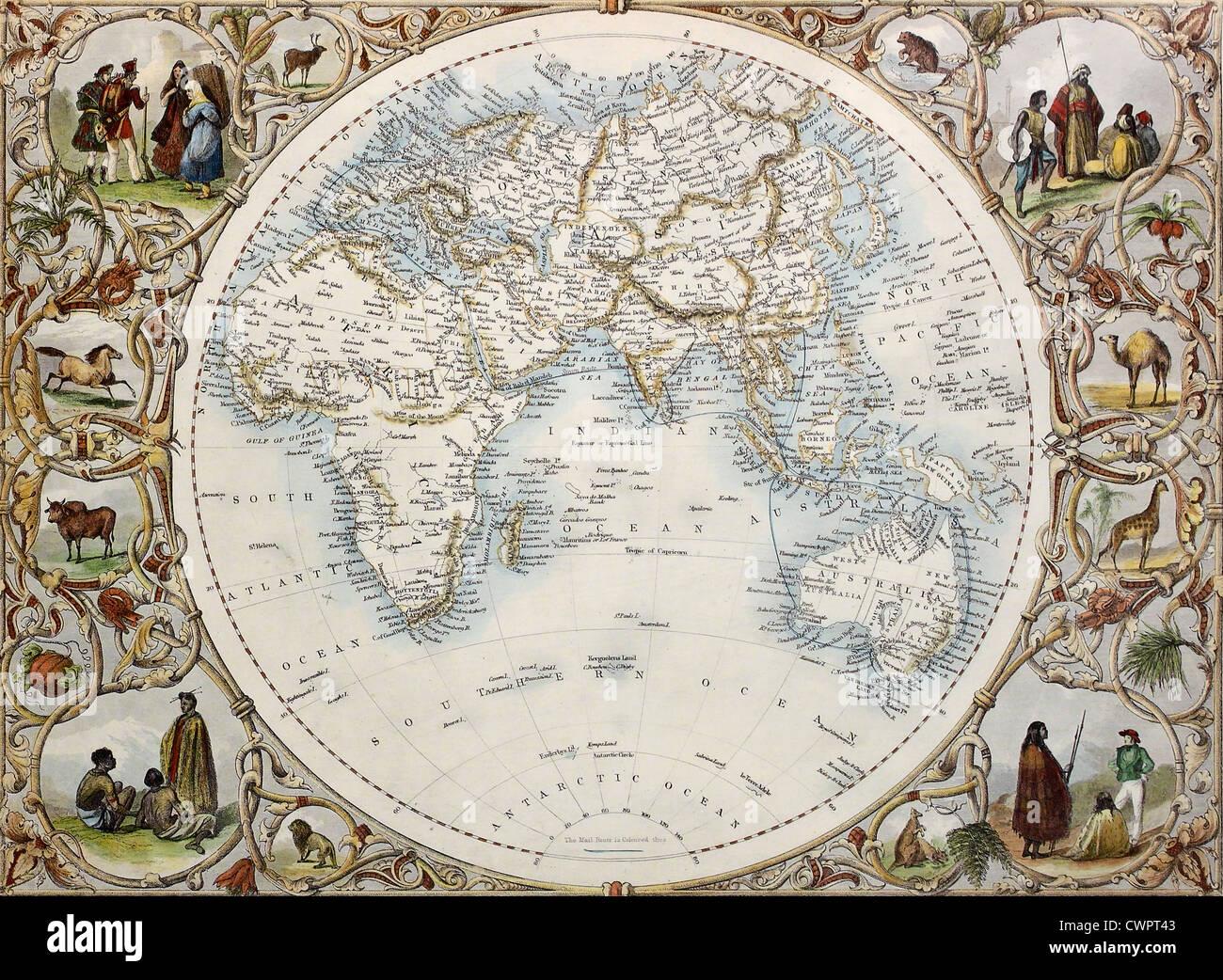 Old map of Hemisphere orienta - Stock Image