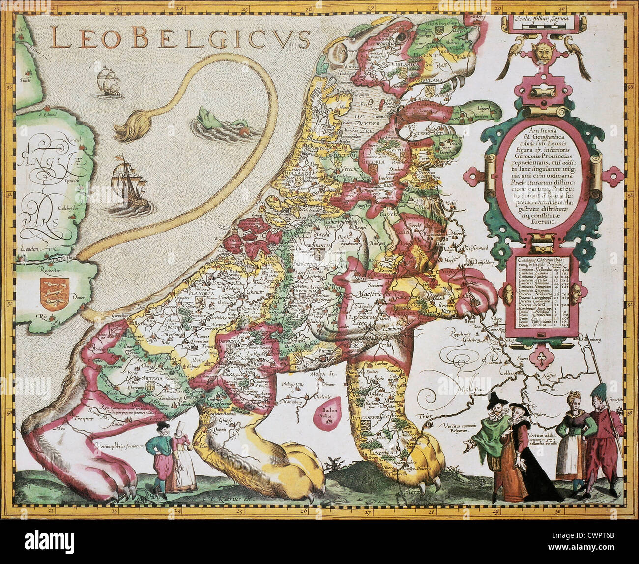 belgium and netherlands old map in the form of a lion