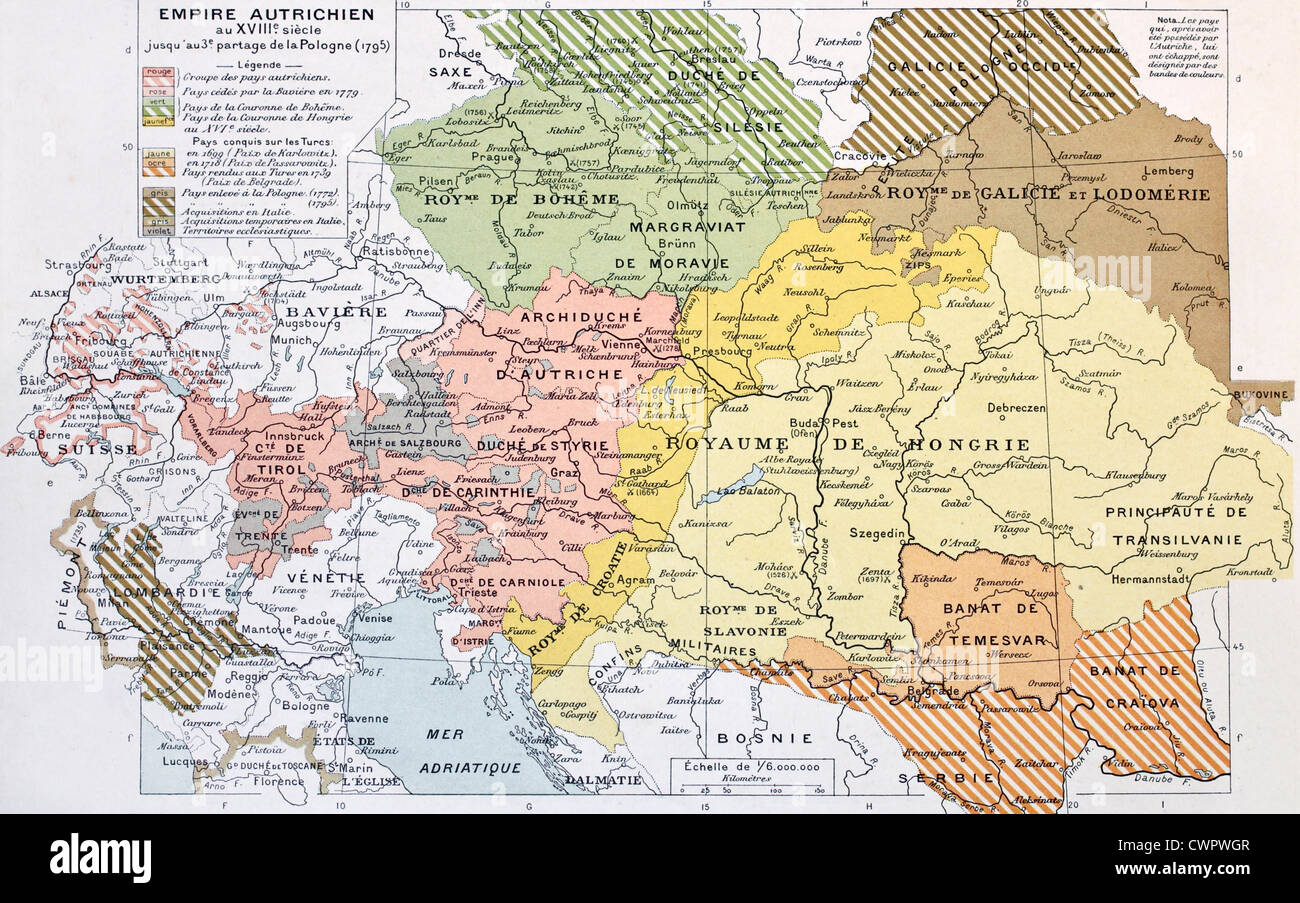 Austrian Empire historical development map - Stock Image
