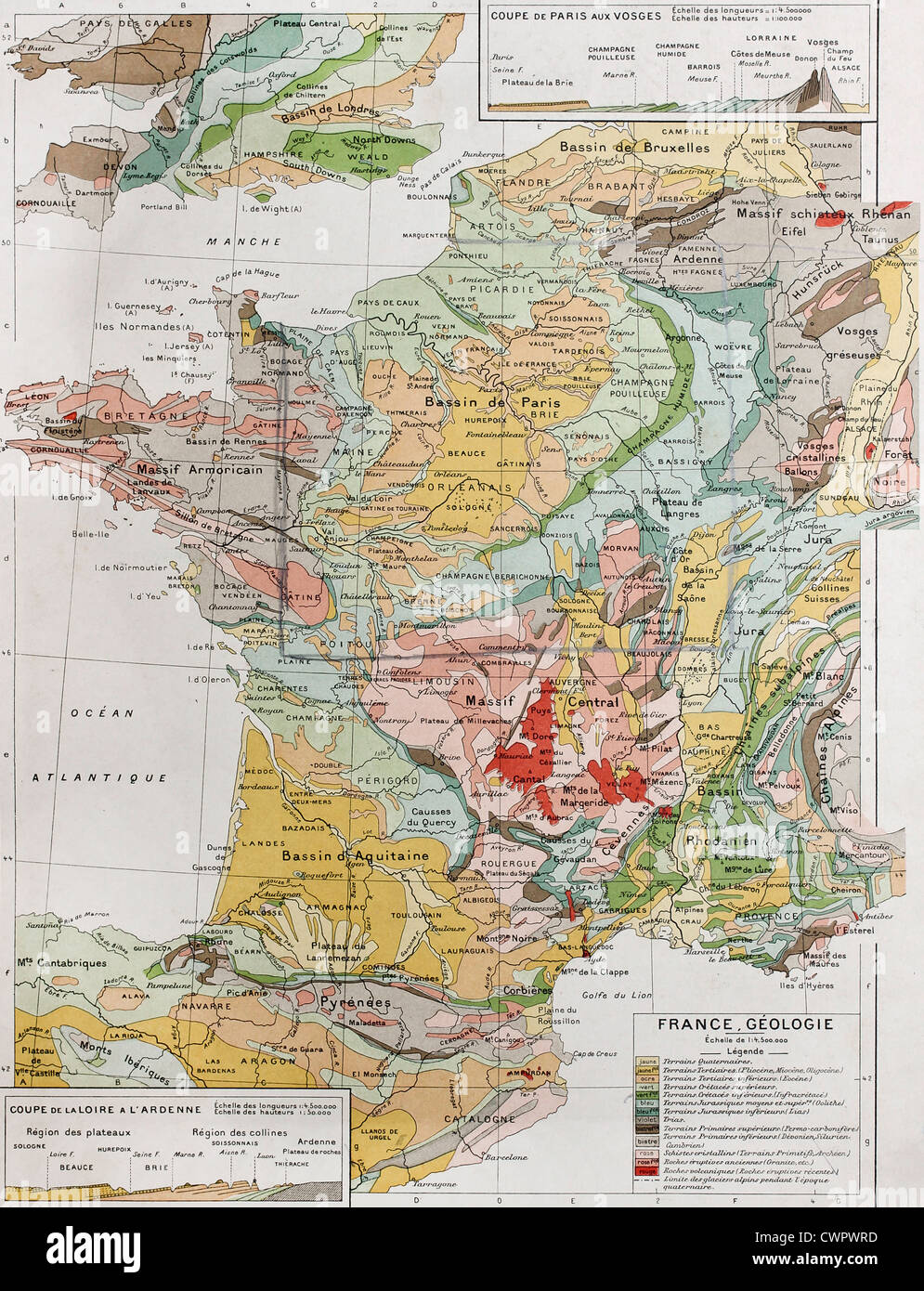 France geological map - Stock Image