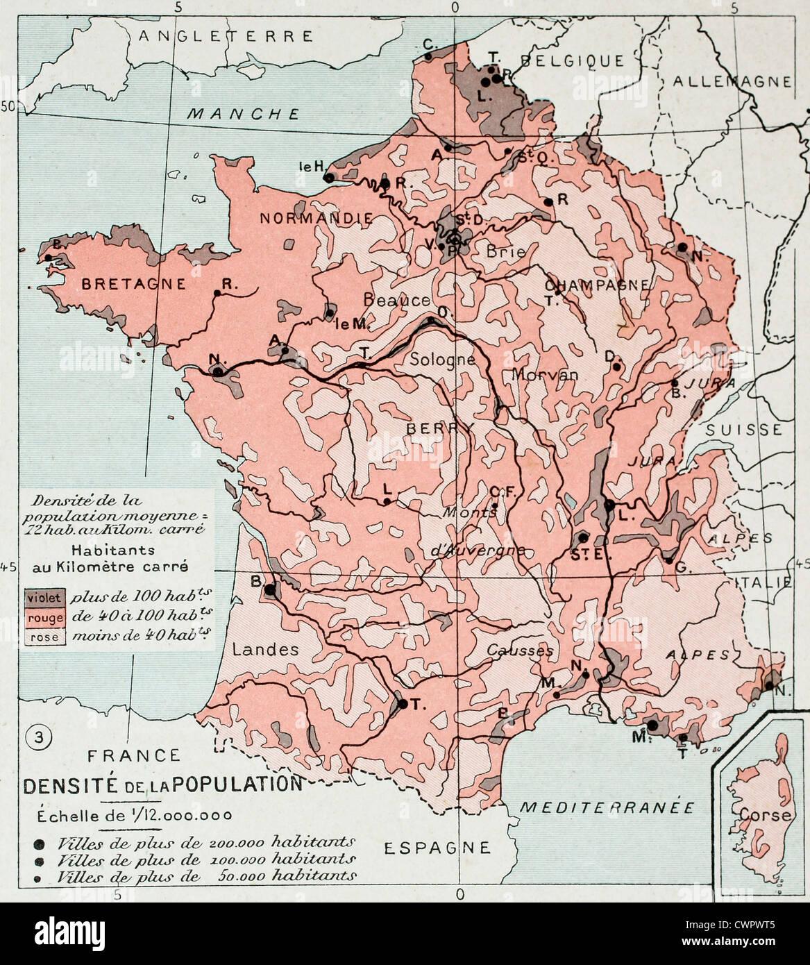France population density old map - Stock Image