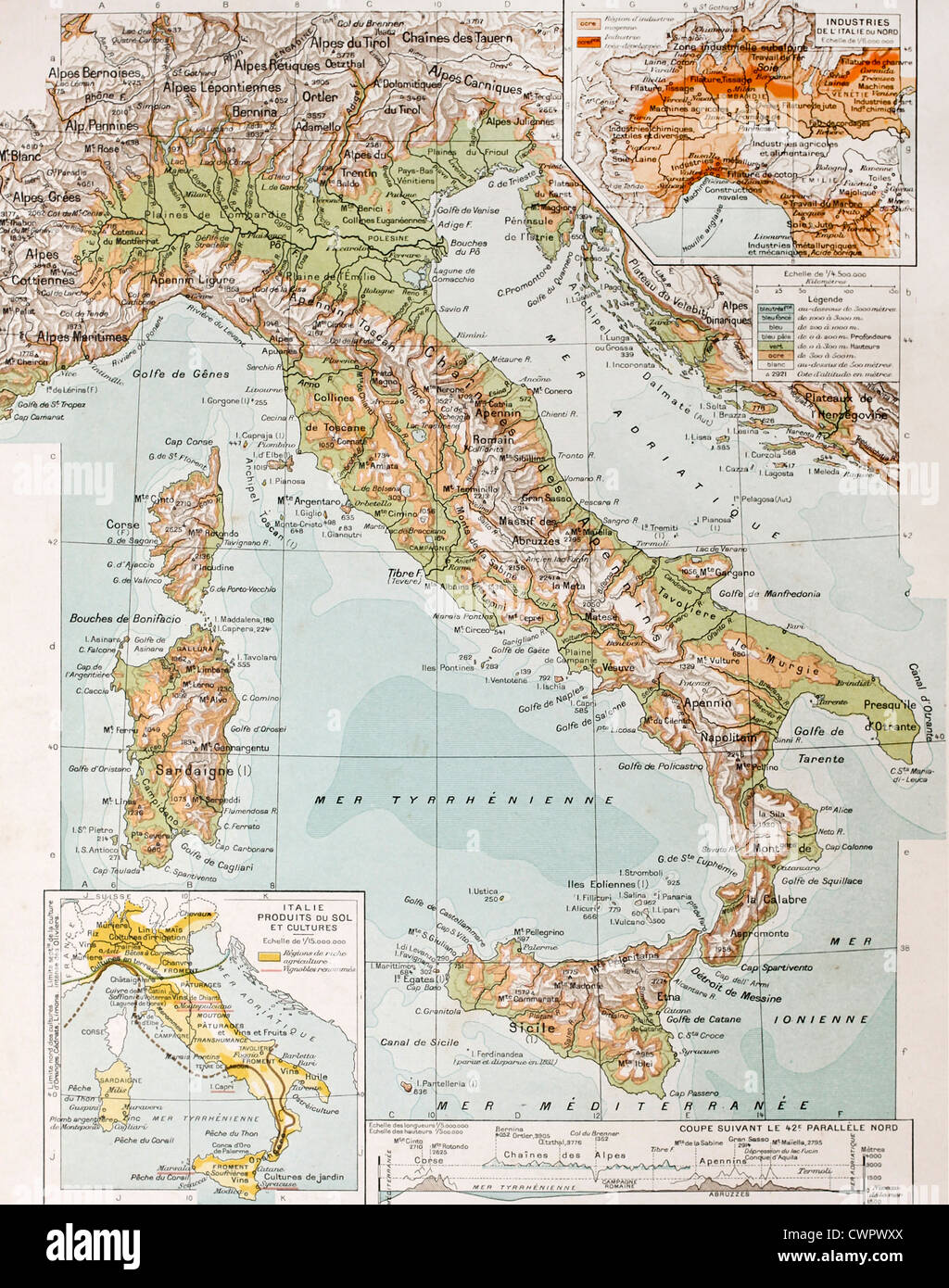 Old physical map of Italy - Stock Image