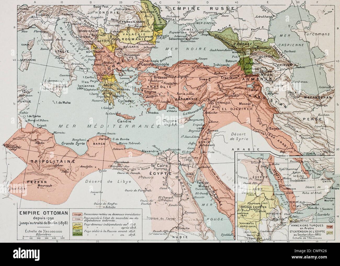 Ottoman Empire historical development old map - Stock Image