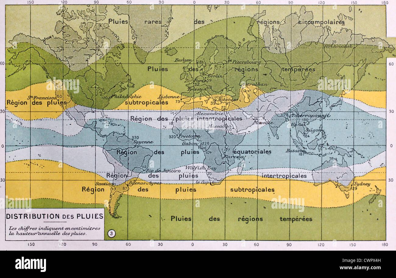 Global rain map Stock Photo