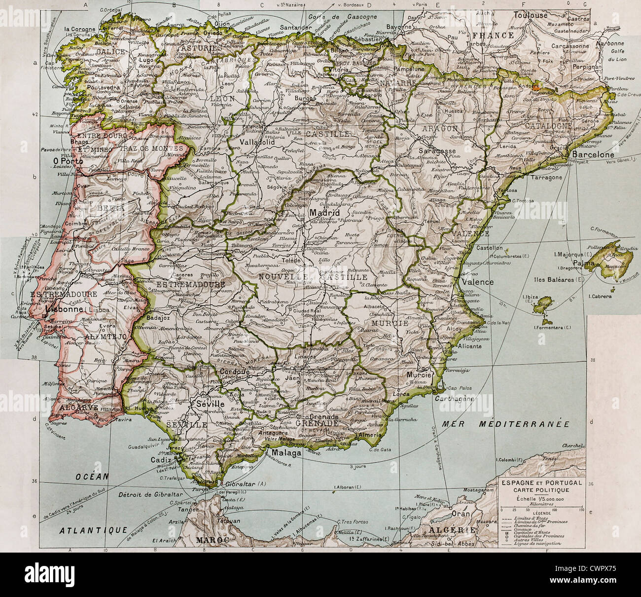 Spain And Portugal Political Map Stock Photo 50290665 Alamy