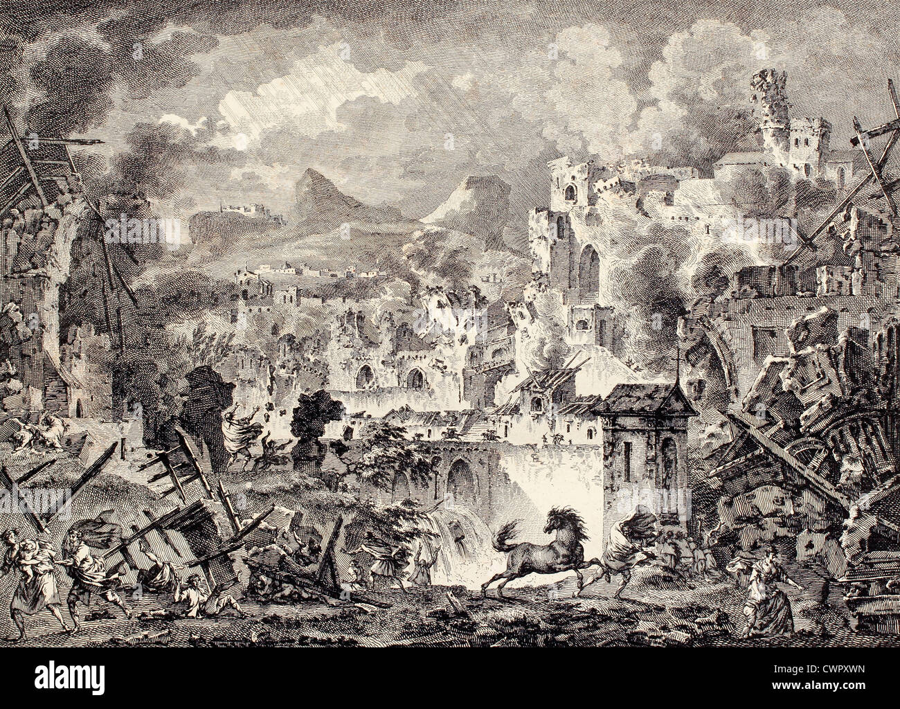 Messina earthquake destruction, Sicily - Stock Image