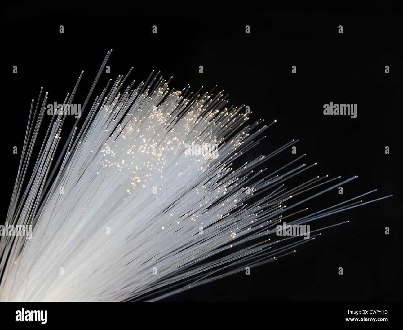 optical fiber isolated on black background - Stock Image