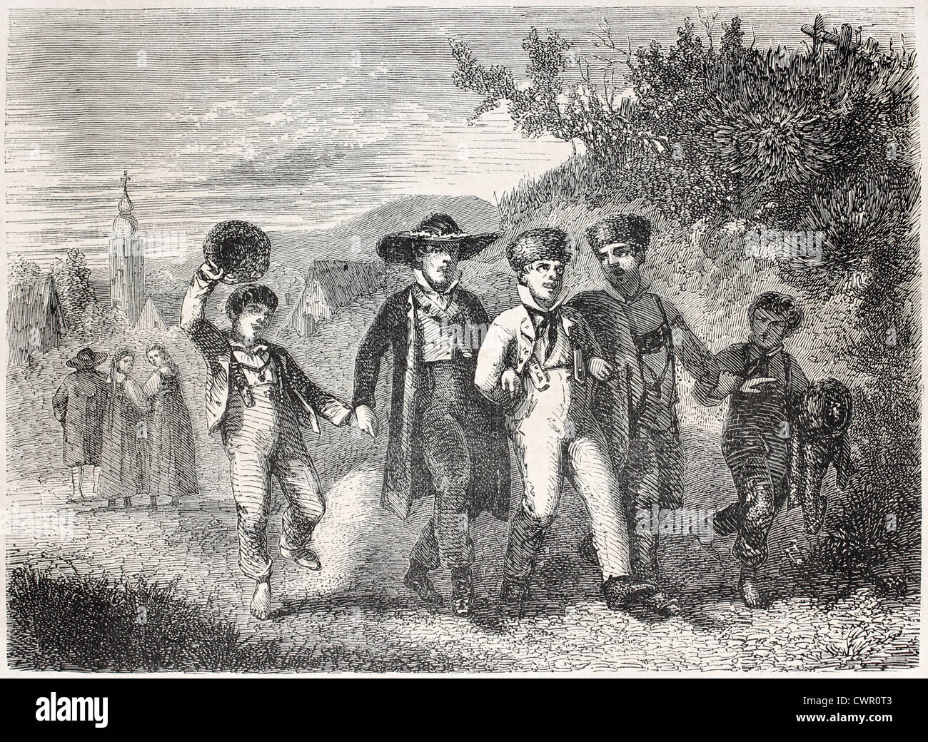 Old illustrations of boys having a walk togheter - Stock Image