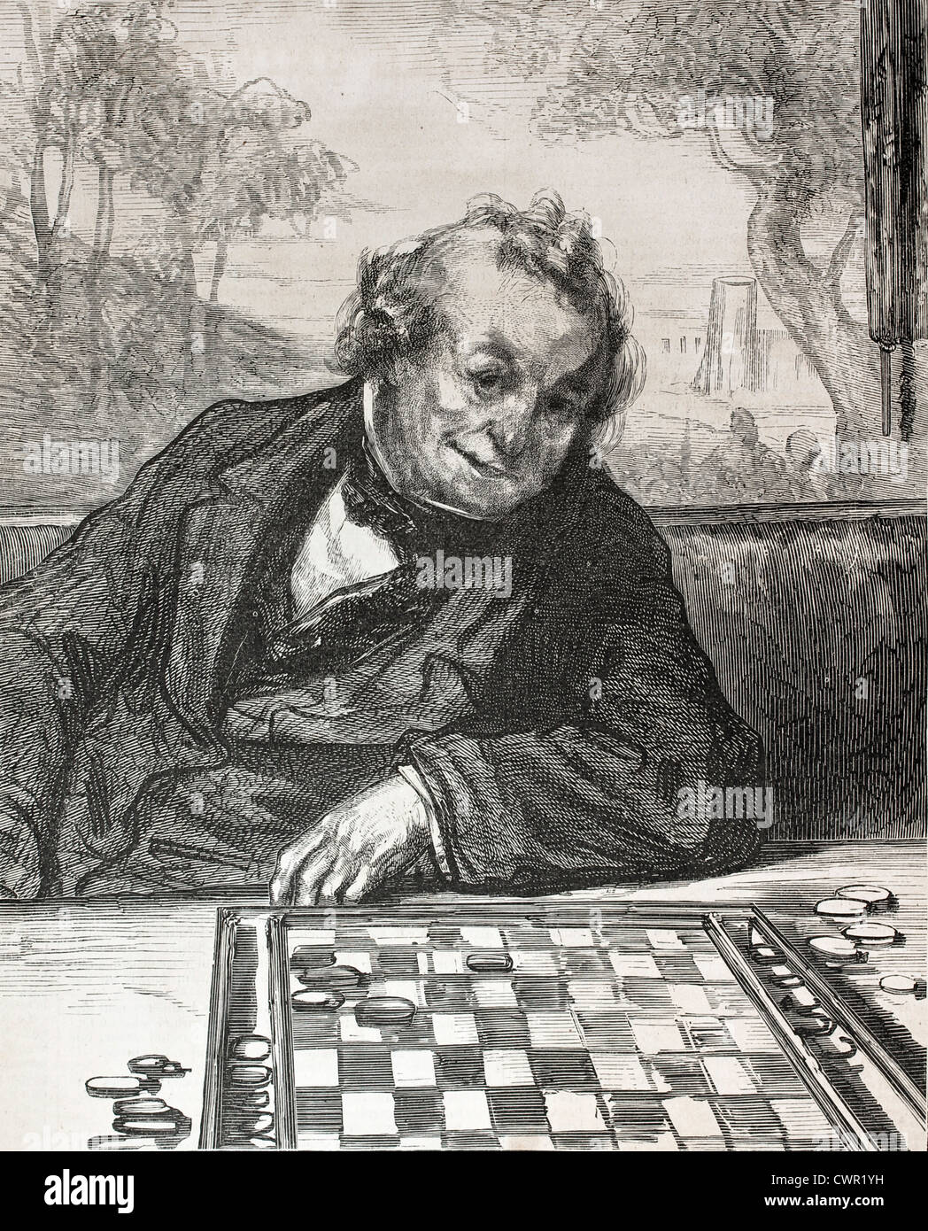 Draughts player - Stock Image