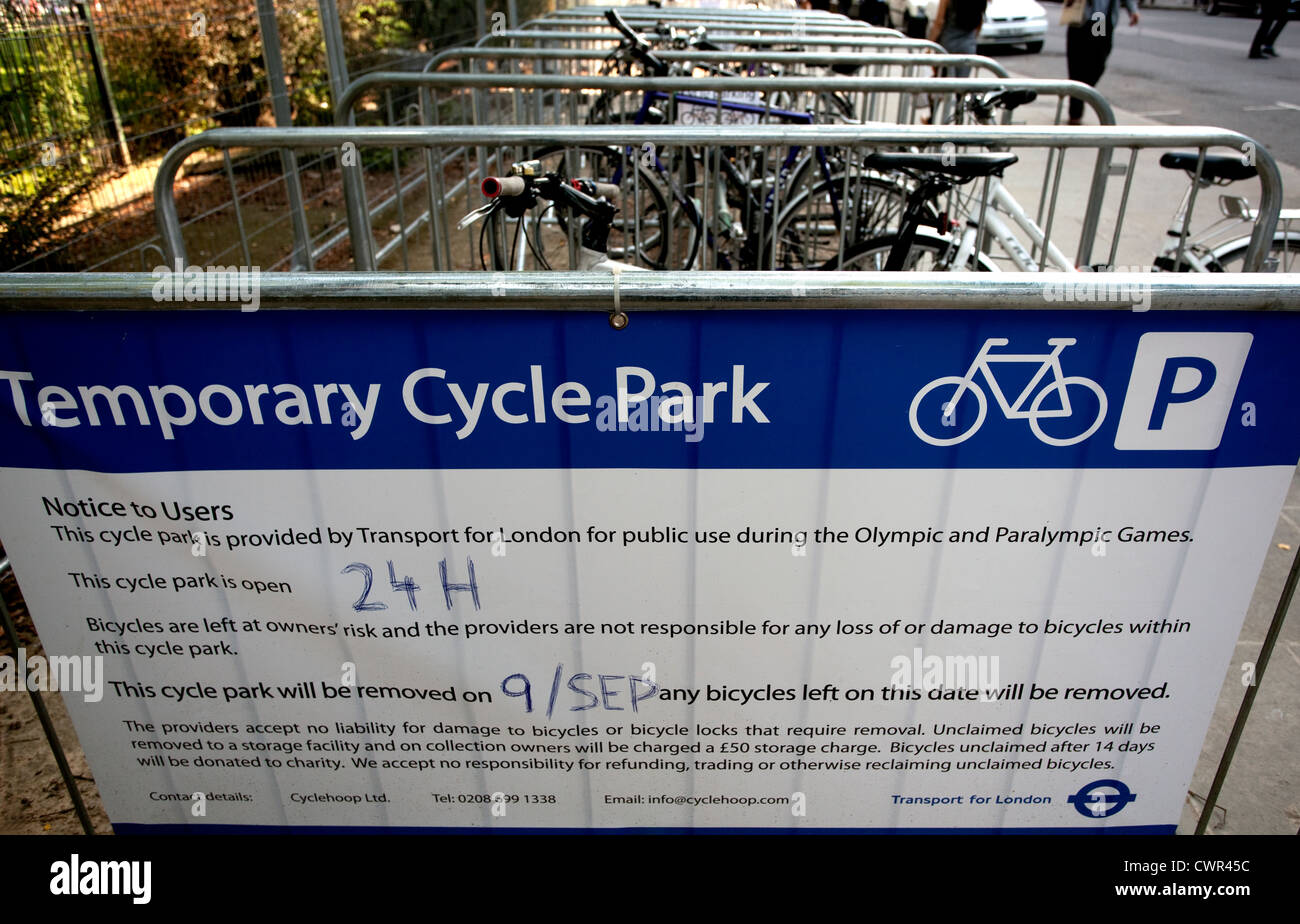 Temporary cycle park for Olympics provided by TFL in City of London - Stock Image