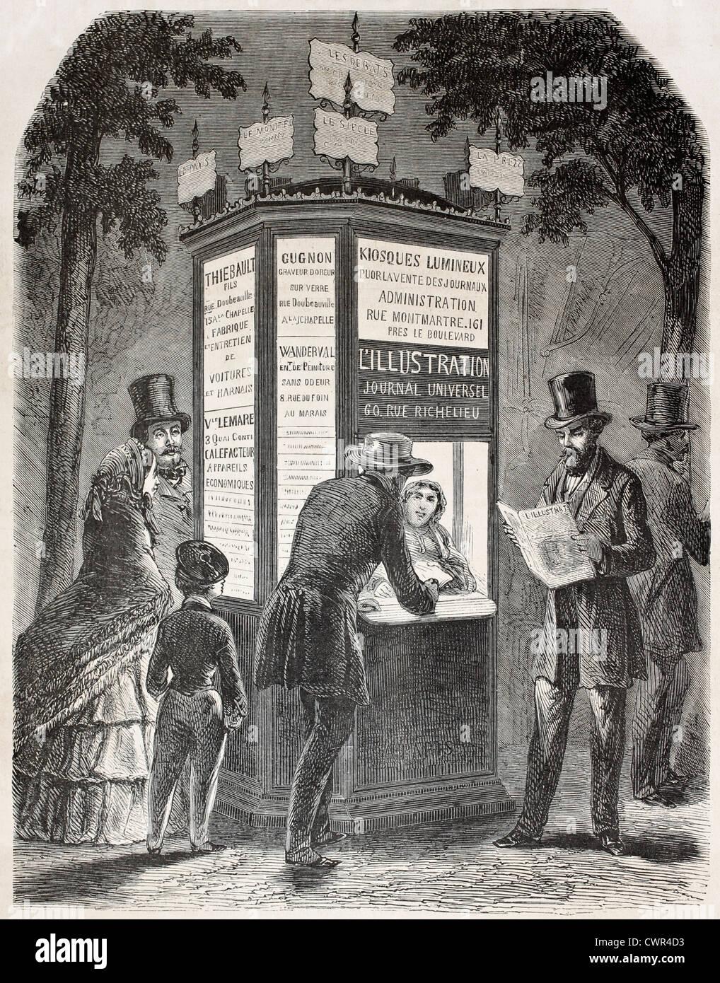 Old illustration of a newspaper kiosk - Stock Image