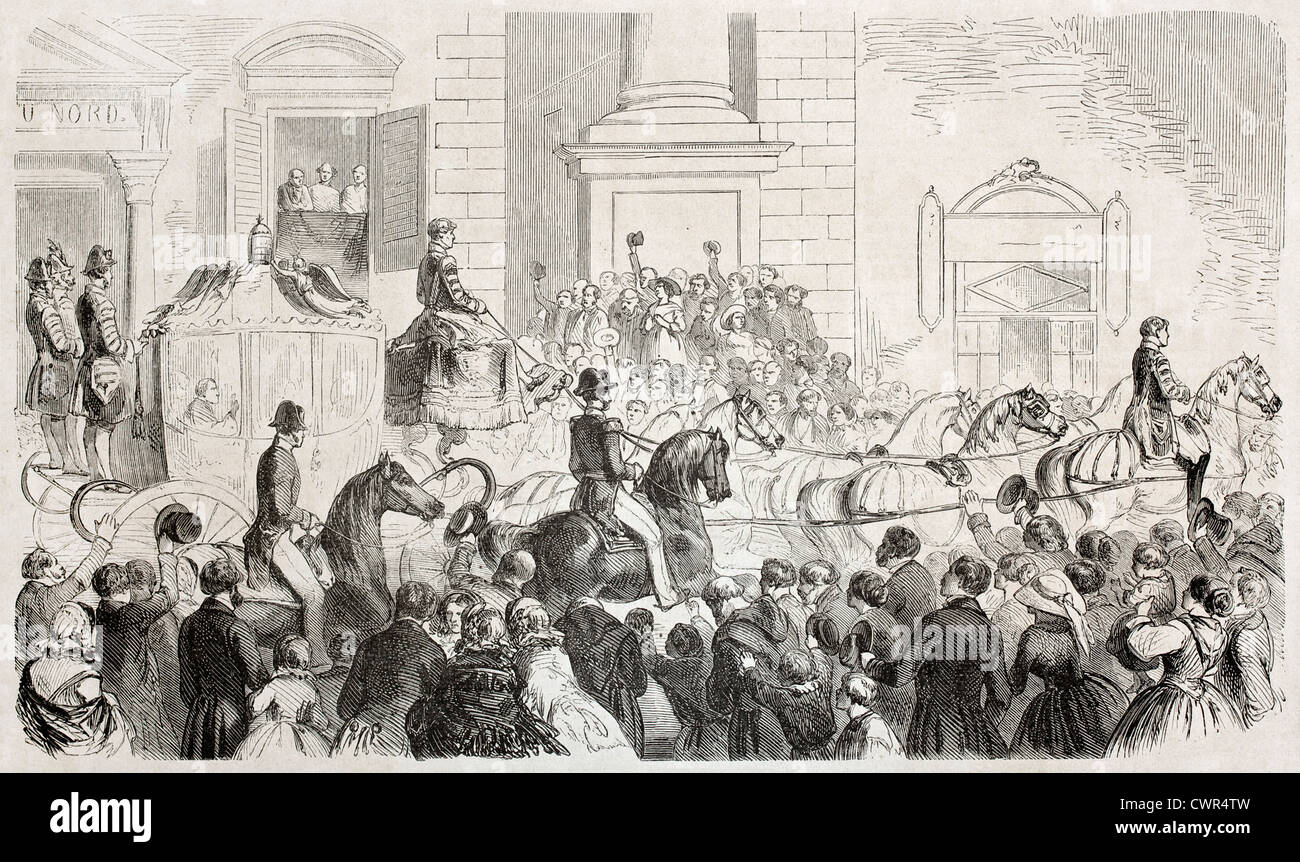 Pope Pio IX arrival in Florence - Stock Image