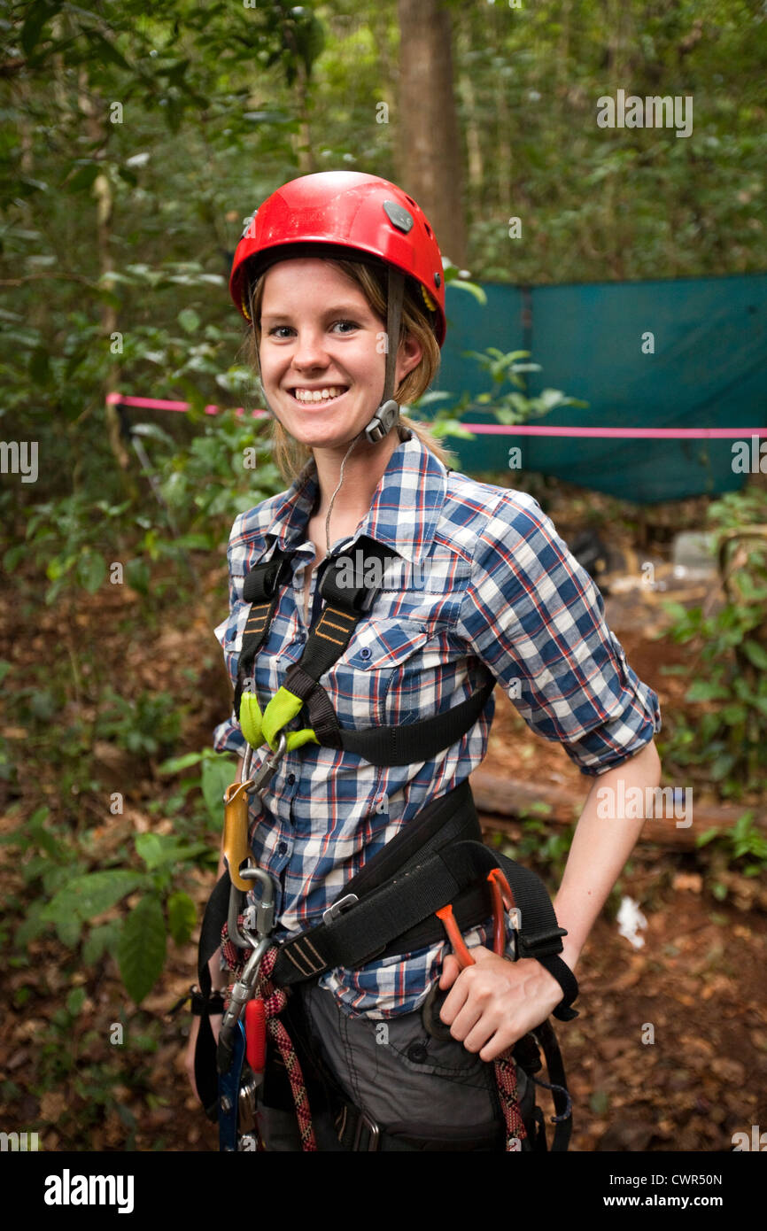 Indonesia, Sulawesi, Operation Wallacea, Lambusango forest reserve, canopy access student - Stock Image