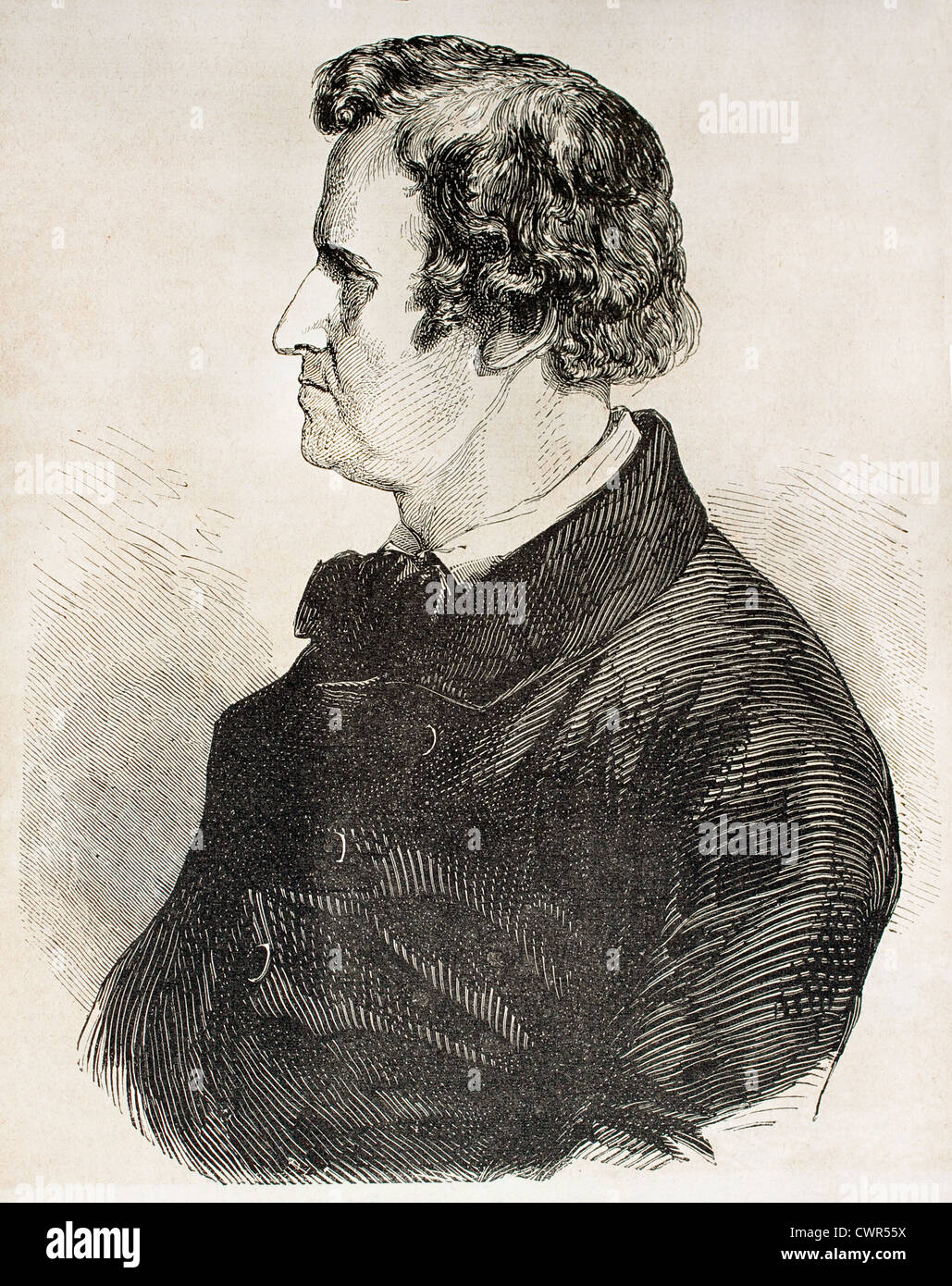 Old engraved portrait of Rauch - Stock Image