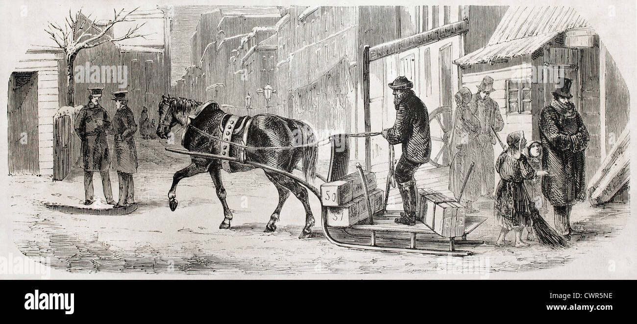 horse-drawn sleigh in New York - Stock Image
