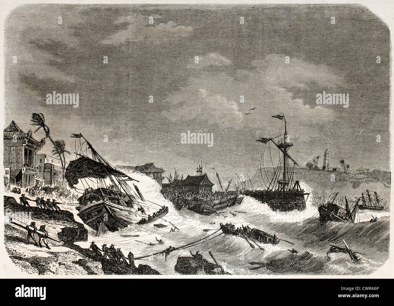Storm damaging ships in the cost of Macao - Stock Image