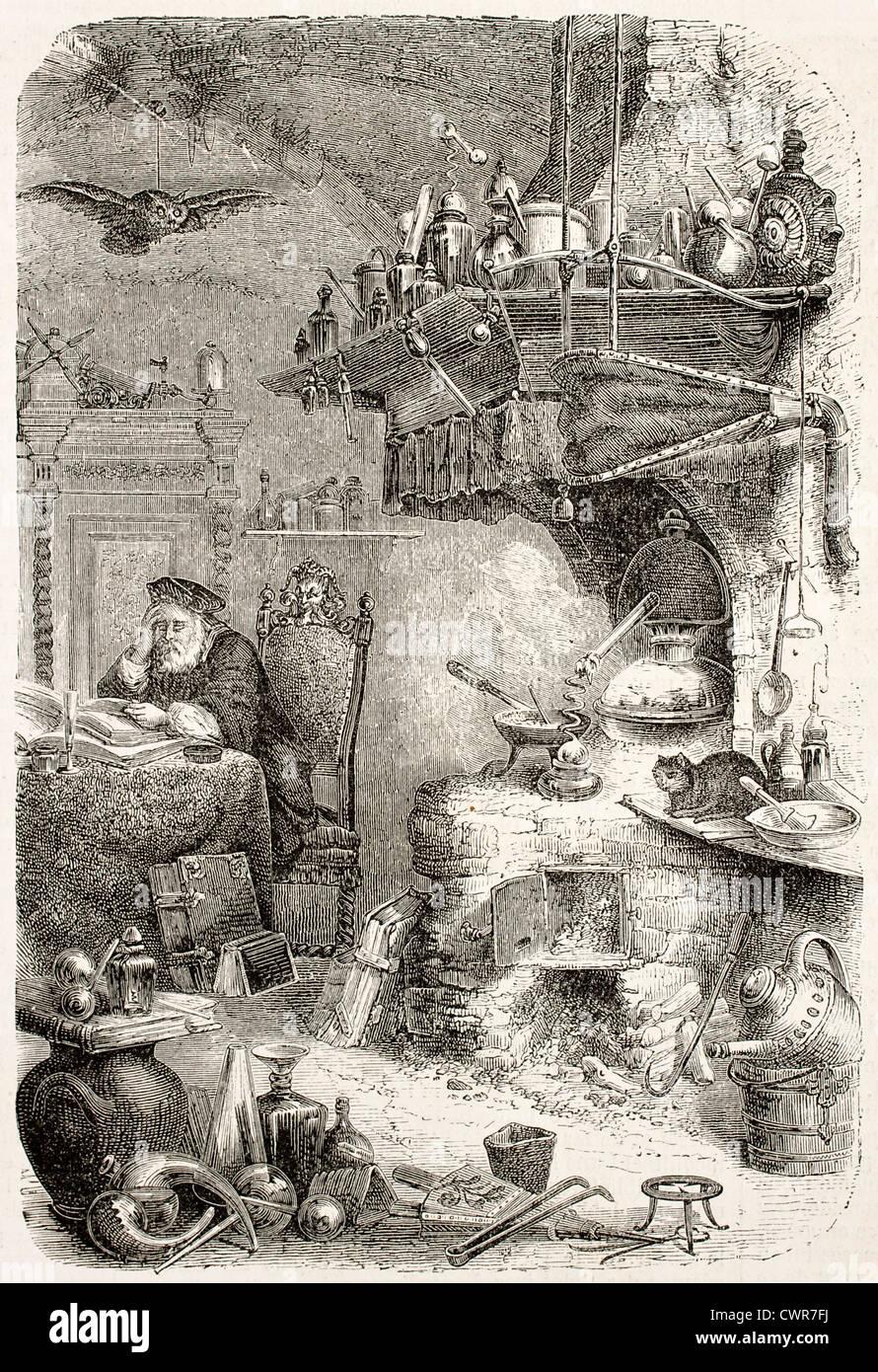 Alchemist laboratory - Stock Image