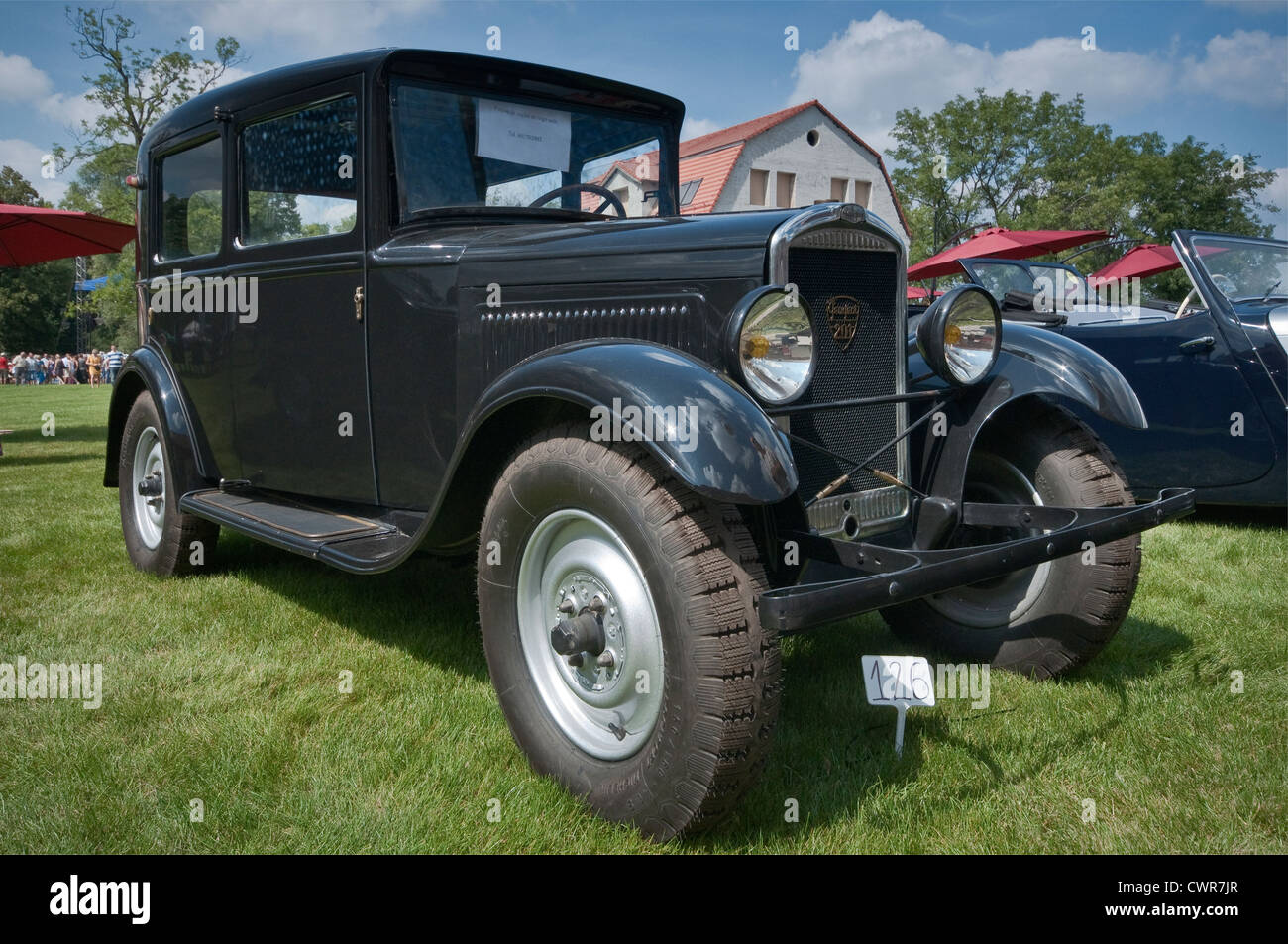 1930s Peugeot 201 at Motoclassic car show at Topacz Castle in Kobierzyce near Wroclaw, Lower Silesia, Poland - Stock Image