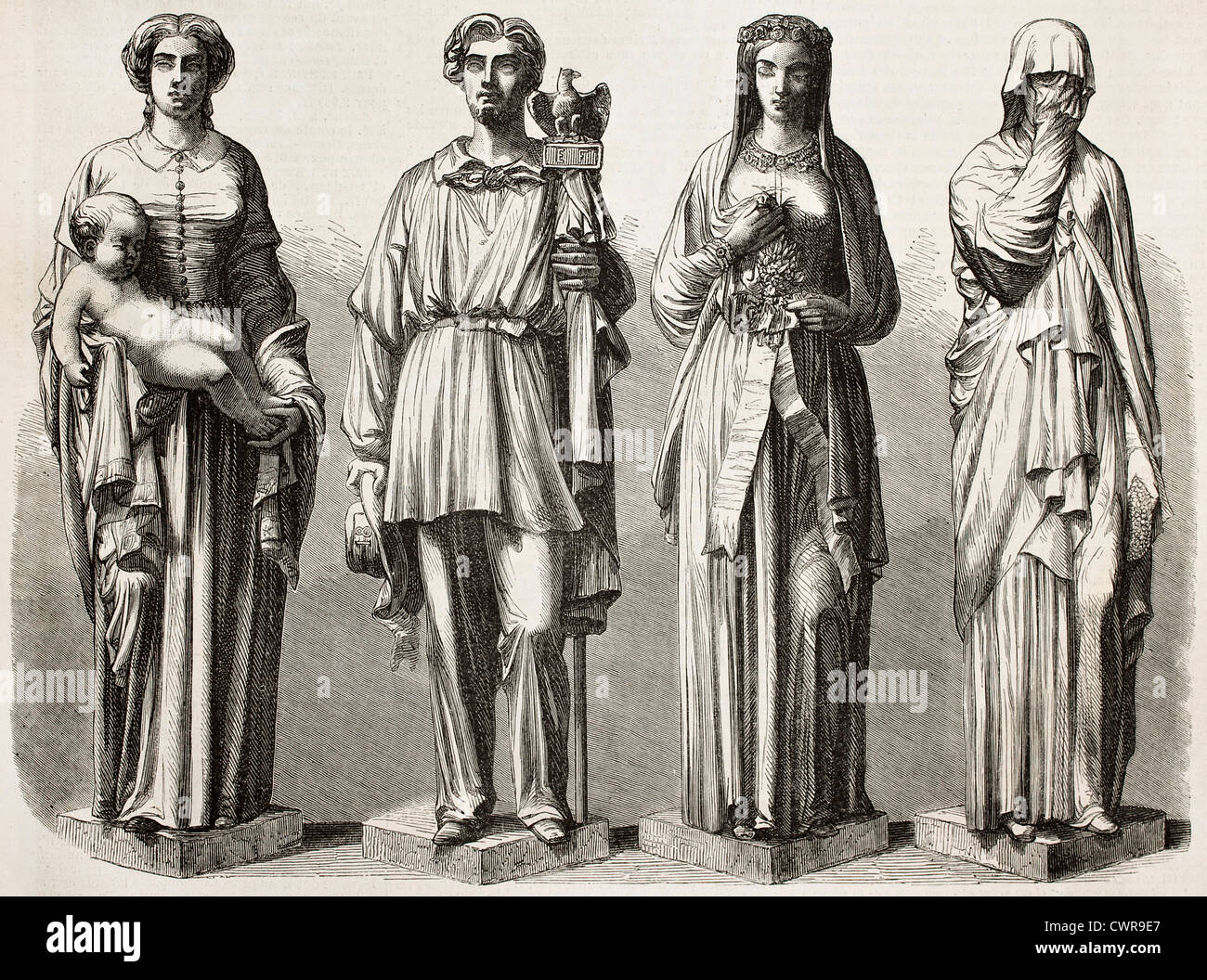 Four statues depicting four ages - Stock Image