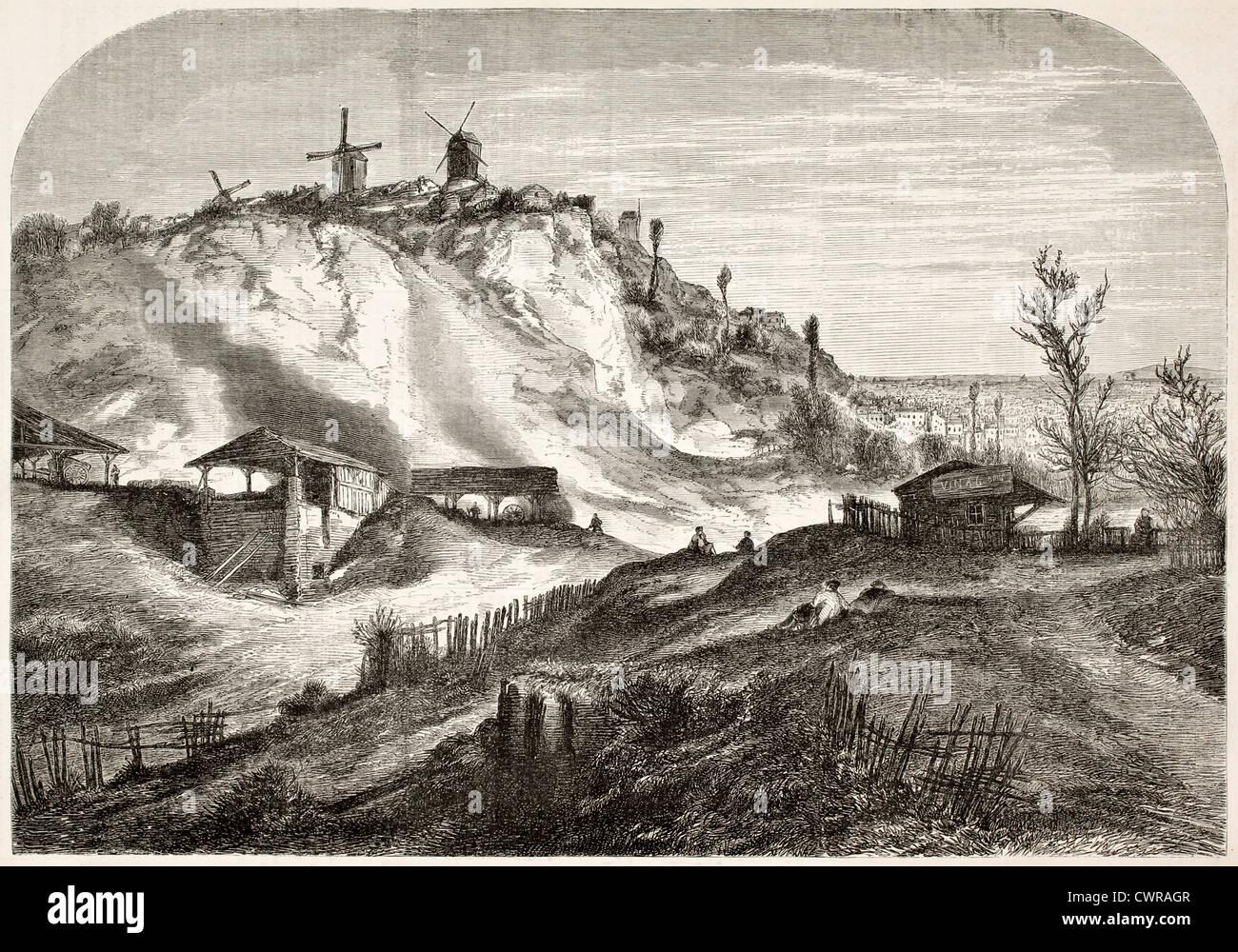 Montmartre hill old view, Paris - Stock Image